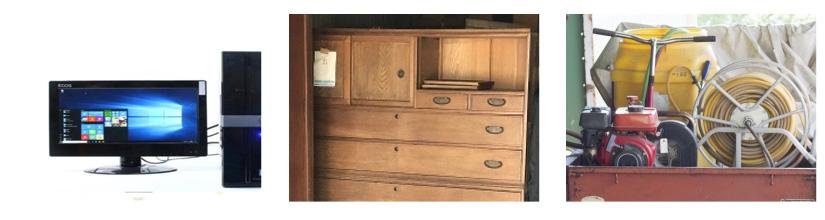 家具家電の回収品の一例の写真