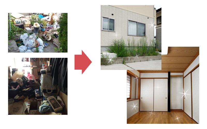 不用品回収前後の比較写真